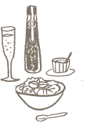 ぶどう酢と料理のイラスト