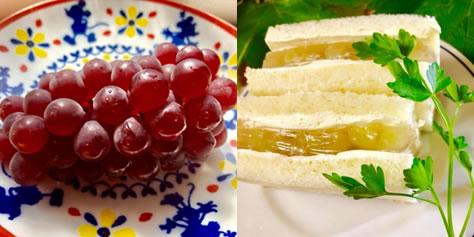夏の爽やかデラウェアぶどうゼリーサンドイッチ♪