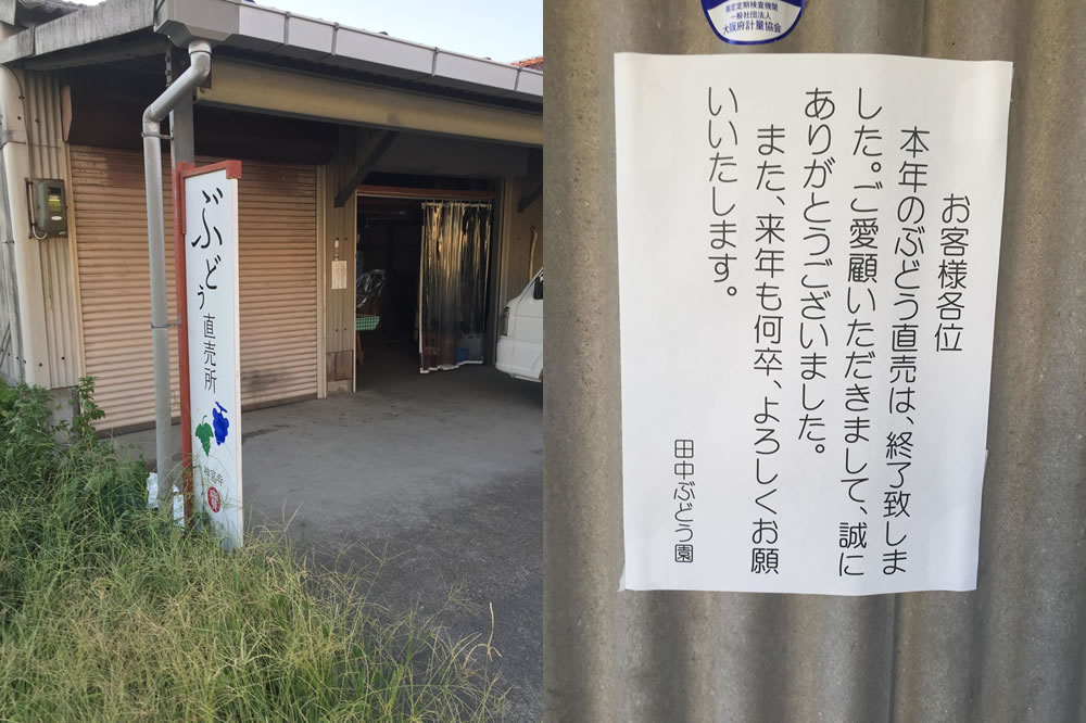 交野神宮寺田中ぶどう園直売所