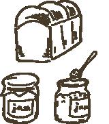ジャムと食パンのイラスト